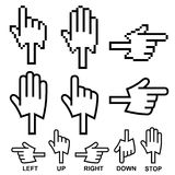 Direction hand cursor icons Royalty Free Stock Photos