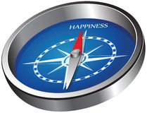 Direction of happiness. Creative compass indicating the direction of happiness. Vector illustration Stock Photos