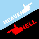 Direction of hell and heaven. Vector illustration. White hand in Royalty Free Stock Photos