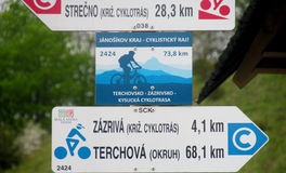 Direction indicator arrow for bycicle route Stock Images
