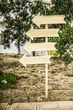 Direction indicator. wooden signpost. Royalty Free Stock Photo