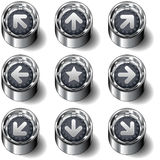 Direction navigation arrows on vector buttons. Complete modern vector button set with direction arrows for navigation on a website or desktop application Royalty Free Stock Photos