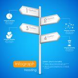 Direction post in Infographic Background. Illustration of direction post showing different option in infogaphic background Royalty Free Stock Photography
