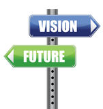 Direction road sign with vision future words Royalty Free Stock Images
