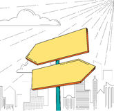 Direction road signs. — two arrows, with city silhouette as backdrop. Vector illustration Royalty Free Stock Photo
