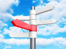 Direction Road Signs Arrows on Blue Sky Background. 3d Render Illustration Stock Photo