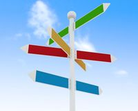 Direction road signs on blue sky  background Stock Image