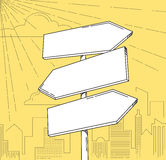 Direction road signs. Three arrows, with city silhouette as backdrop. Vector illustration Royalty Free Stock Images