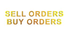 Direction of sale and purchase direction. Buy orders. Sell order Royalty Free Stock Images