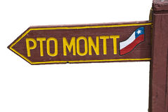 Direction sign. To Puerto Montt royalty free stock photo