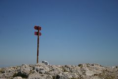 Direction sign. On the top of the mountain Stock Photography