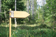Direction sign. Wooden direction sign in forest with space for your text. Three directions royalty free stock photo