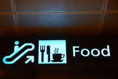 Direction Sign. Direction Food Sign in Singapore Changi Airport royalty free stock photos