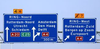 Direction sign above motorway A20 at the Kethelplein with split to the south of Rotterdam via A4.  royalty free stock image