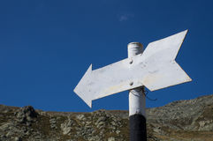 Direction sign. Blank direction sign on the mountain royalty free stock image