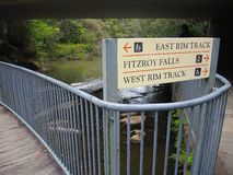 A direction sign board to The West Rim, the East Rim walking track and Fitzroy Falls. BOWRAL NSW, AUSTRALIA. – On October 18, 2015. - A direction sign royalty free stock photos