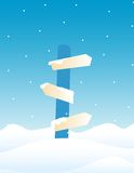 Direction sign board - Winter. Illustration of a direction sign board on falling Snow background / Winter direction sign board Stock Images