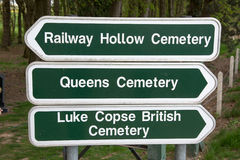 Direction sign for Commonwealth War Graves Stock Images