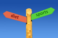 Direction sign diet - sports Stock Photography