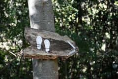Direction sign. With footprints in the wood Stock Images