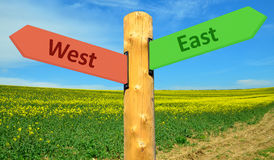 Direction sign east - west. A direction sign with opposite arrows eastward and westward Stock Photos