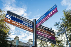 Direction sign in Footscray. A sign pointing towards important sites in the Melbourne suburb of Footscray Royalty Free Stock Image