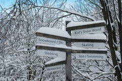 Direction Sign in the Forest - Winter Activities Stock Photo