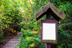 Direction sign in forest. Wooden path and direction sign in forest, fall season stock photos