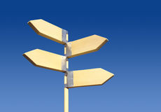 Direction sign(four direction). Wooden direction sign on blue sky. Four directions Stock Photography