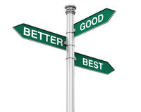 Direction Sign of Good, Better, and Best Royalty Free Stock Photo