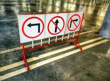 Direction sign- left turn ,dont forward and dont right turn warning Royalty Free Stock Photos