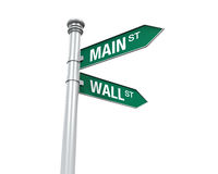 Direction Sign of  Main Street and Wall Street. Isolated on white background. 3D render Stock Images