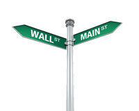 Direction Sign of  Main Street and Wall Street. Isolated on white background. 3D render Royalty Free Stock Photos