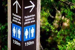 Direction Sign for Pedestrian access to picnic area in 150 meters. A Direction Sign for Pedestrian access to picnic area in 150 meters royalty free stock photography