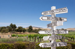 Direction sign post to cities of the world. Farmland with sign post pointing to Paris, Tokyo, New York Stock Photos