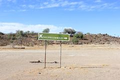 Direction sign Quiver Tree forest, Keetmanshoop, Namibia Stock Photo