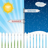 Direction sign with seasons . Stock Photography