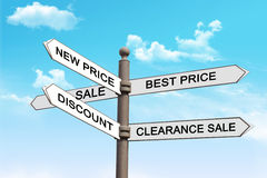 Direction sign in shopping and price list. Direction sign in shopping. Idea and motivation stock images
