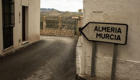 Direction Sign in Spain. Sign in Sorbas Spain showing Almeria and Murcia Stock Images