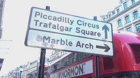 Direction sign to Piccadilly Circus London England 2016 stock footage