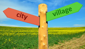 Direction sign Town - Village Royalty Free Stock Photography