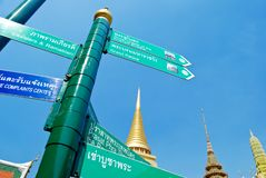 Direction sign for traveler in Buddha temple Royalty Free Stock Image