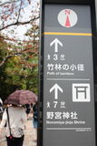 Direction signboard in Arashiyama, Kyoto Royalty Free Stock Photo