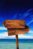 Direction Signpost on Seaside Beach Royalty Free Stock Photos