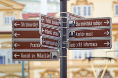 Direction signs. In czech in the middle of Prague Stock Image