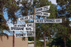 Direction signs. In town, Port Ogasta, South Australia Royalty Free Stock Image