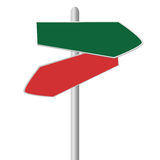 Direction signs. In red and green color Royalty Free Stock Photos