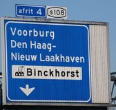 Direction signs above motorway A12 at Prins Clausplein for junction 4 heading S108 The Hague binckhorst and Voorburg in the Nether. Lands stock photo