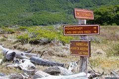 Direction signs at the Los Glaciares National Park, Argentina. Direction signs along the trail to mount Fitz Roy at the Los Glaciares National Park, Argentina Royalty Free Stock Image