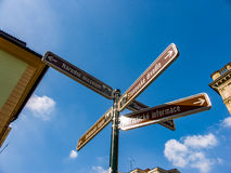 Direction signs in the beautiful city Royalty Free Stock Images